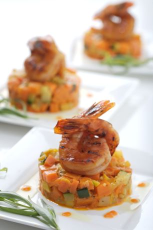 Grilled Shrimp on Root Veggie Hash