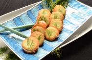 Wasabi Macrons with Smoked Salmon Schmear