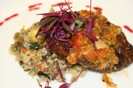 Sumac-Crusted Chicken on 7 Veggie Couscous